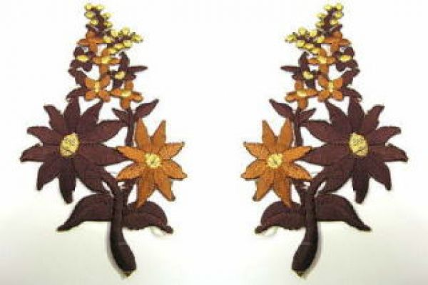 1 Paar Blumenapplikationen AF74-10 Farbe: dunkelbraun-hellbrau