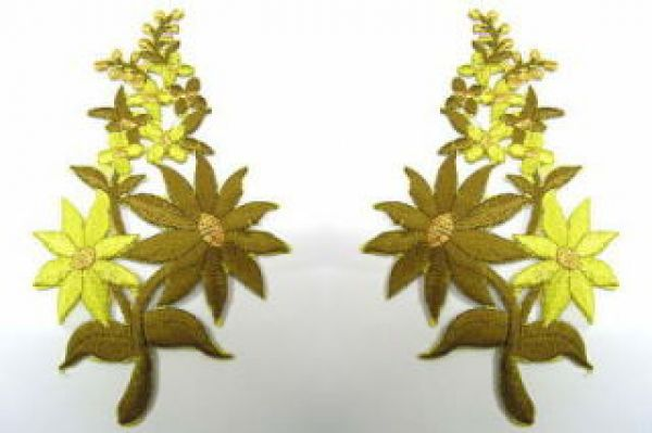 1 Paar Blumenapplikationen AF74-12 Farbe: olive-grün