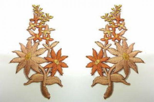 1 Paar Blumenapplikationen AF74-13 Farbe: hellbraun-braun