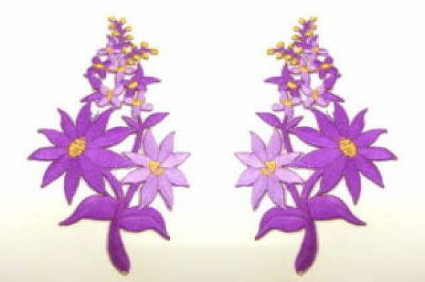 1 Paar Blumenapplikationen AF74-15 Farbe: violett
