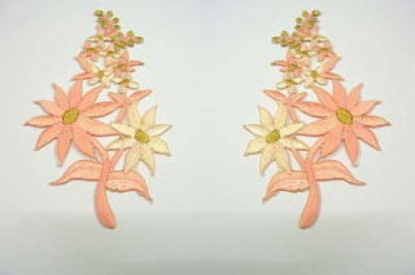 1 Paar Blumenapplikationen AF74-16 Farbe: Lachs