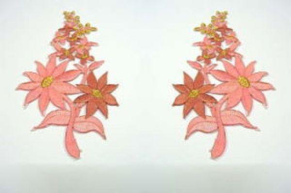 1 Paar Blumenapplikationen AF74-17 Farbe: Pink