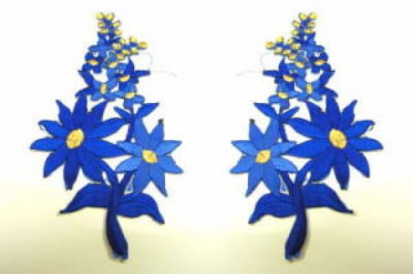 1 Paar Blumenapplikationen AF74-18 Farbe: hellblau