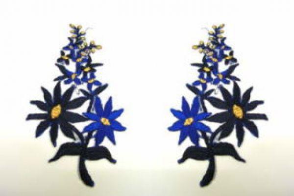 1 Paar Blumenapplikationen AF74-19 Farbe: dunkelblau