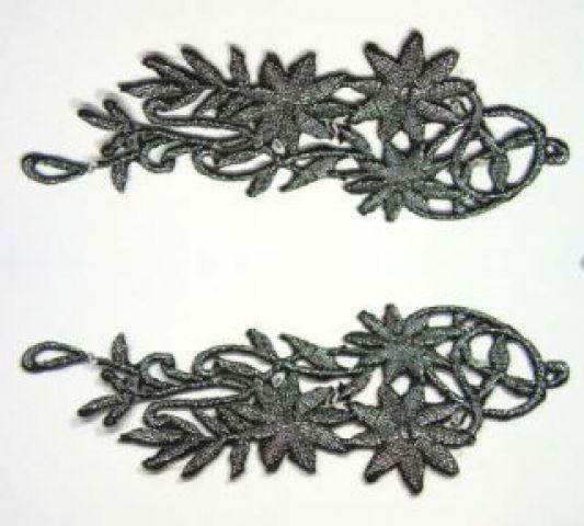 1 Paar Blumenapplikationen AF75-1 Farbe: schwarz-silber