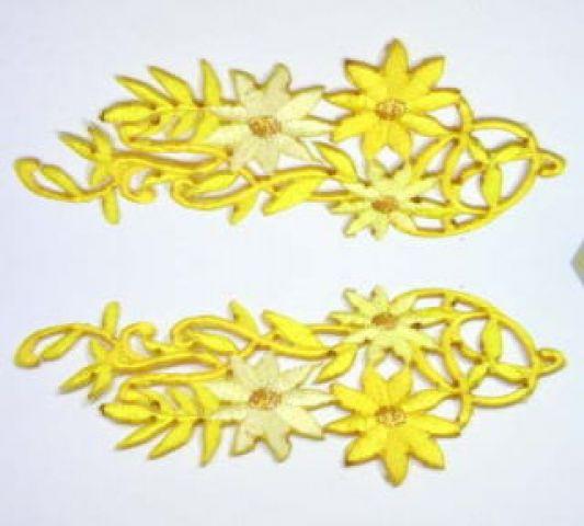 1 Paar Blumenapplikationen AF75-6 Farbe: gelb