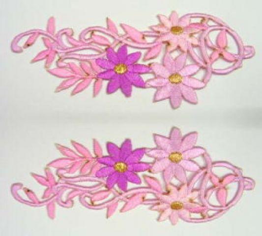 1 Paar Blumenapplikationen AF75-8 Farbe: pink