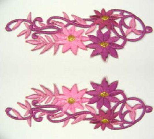 1 Paar Blumenapplikationen AF75-9 Farbe: violett