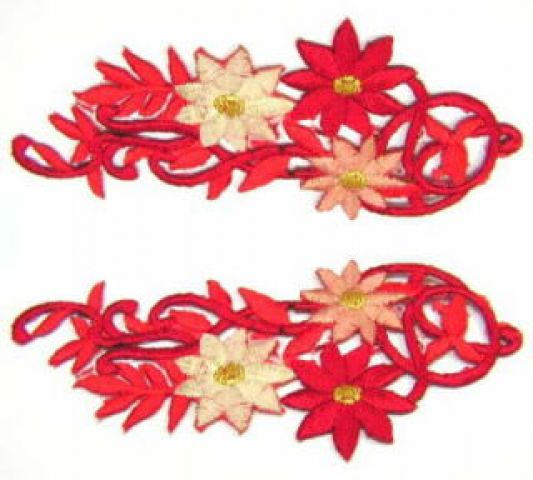 1 Paar Blumenapplikationen AF75-10 Farbe: rot