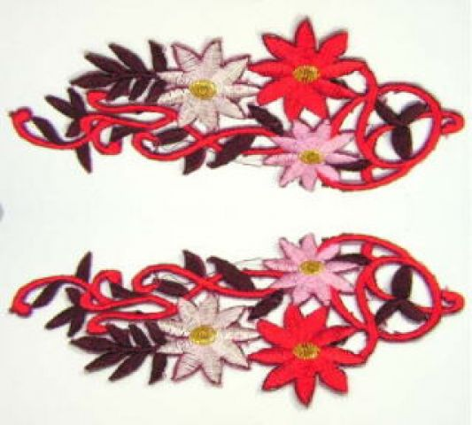 1 Paar Blumenapplikationen AF75-11 Farbe: bordeaux-rot