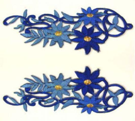 1 Paar Blumenapplikationen AF75-12 Farbe: blau-blau