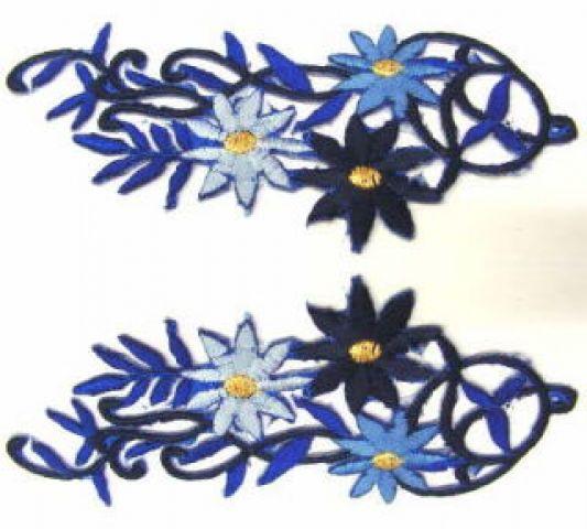 1 Paar Blumenapplikationen AF75-13 Farbe: blau-hellblau