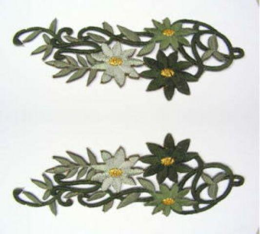 1 Paar Blumenapplikationen AF75-14 Farbe: olive