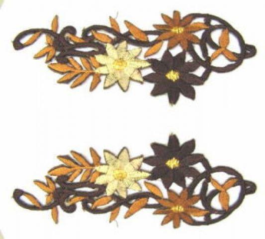 1 Paar Blumenapplikationen AF75-16 Farbe: dunkelbraun