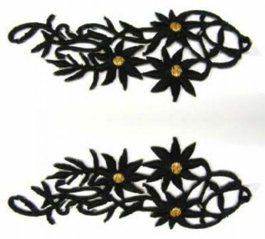 1 Paar Blumenapplikationen AF75-17 Farbe: schwarz