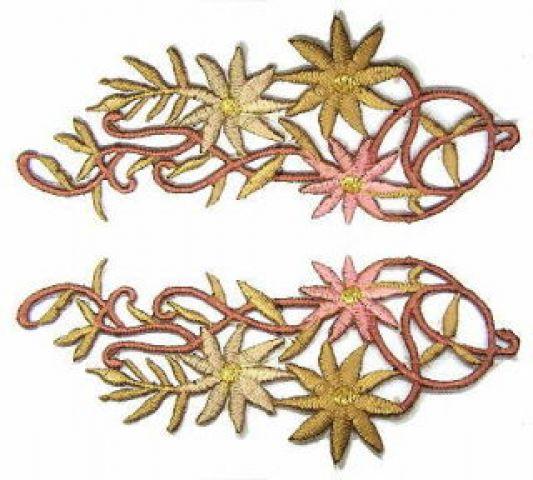 1 Paar Blumenapplikationen AF75-22