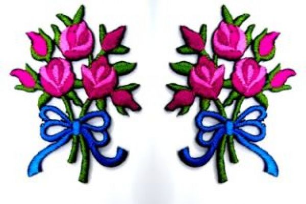 1 Paar Applikationen Rosenstrauß RU05-05