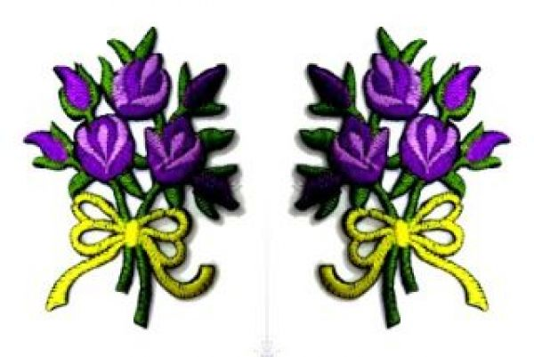 1 Paar Applikationen Rosenstrauß RU05-17
