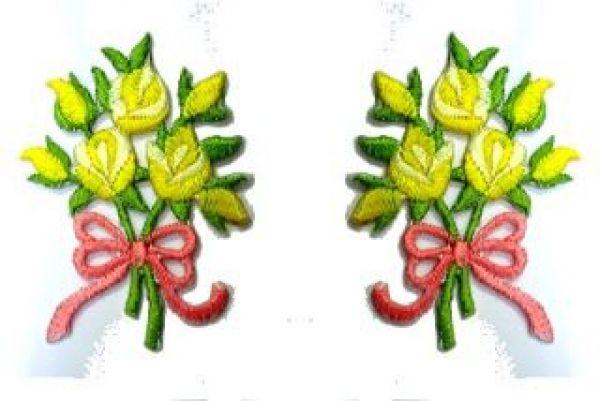 1 Paar Applikationen Rosenstrauß RU05-22