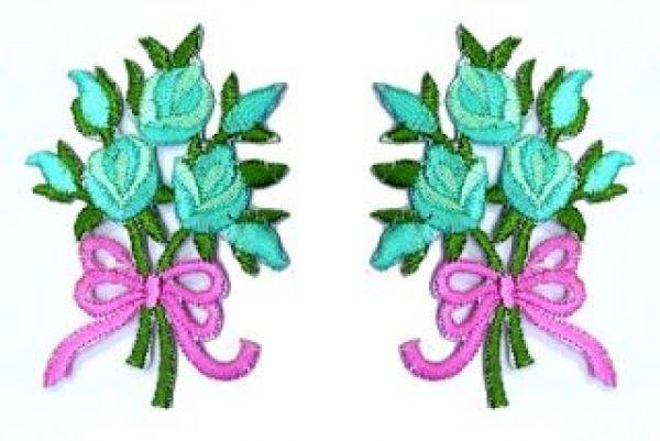 1 Paar Applikationen Rosenstrauß RU05-27