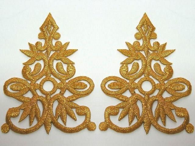 1 Paar Applikationen 9,5 x 7cm höhere Qualität Farbe: Gold