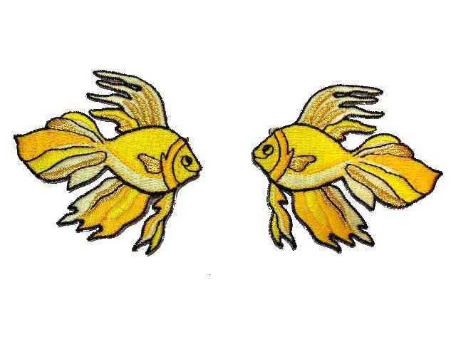 1 Paar Applikationen Fische 7x7cm Farbe: Gelb-Gold
