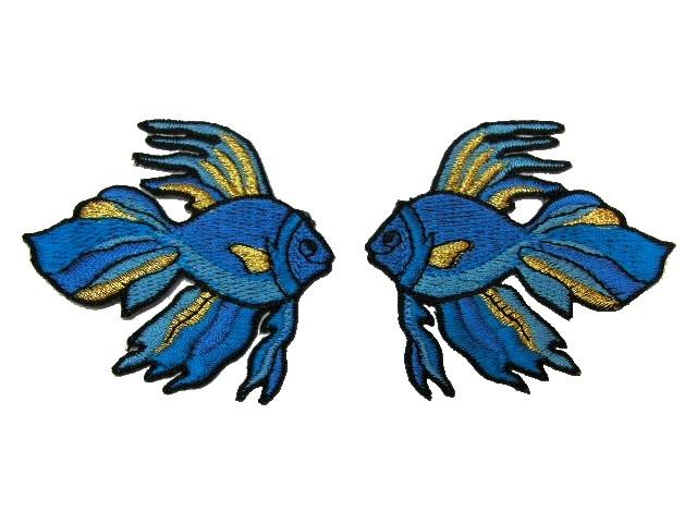 1 Paar Applikationen Fische 7x7cm Farbe: Blau-Gold