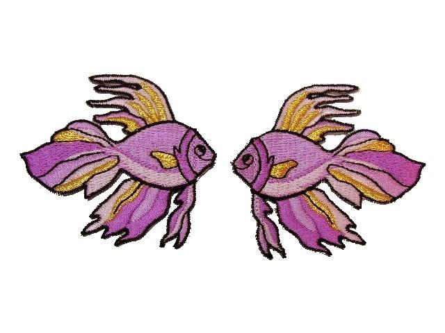 1 Paar Applikationen Fische 7x7cm Farbe: Violett-Gold