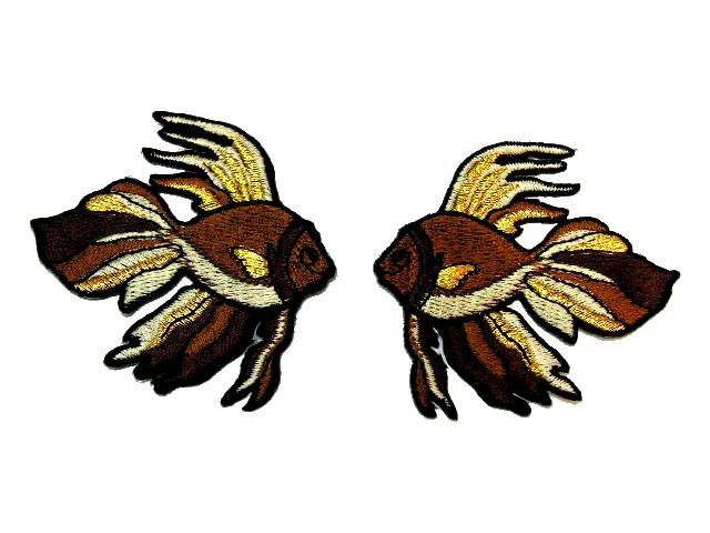 1 Paar Applikationen Fische 7x7cm Farbe: Braun-Gold