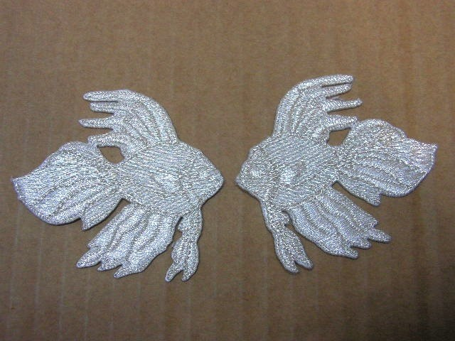 1 Paar Applikationen Fische 7x7cm AA456-30 Farbe: Silber