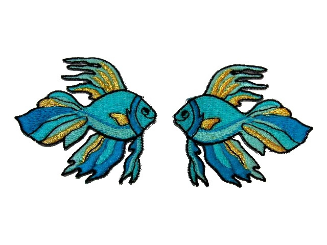 1 Paar Applikationen Fische 7x7cm Farbe: Filosa-Gold