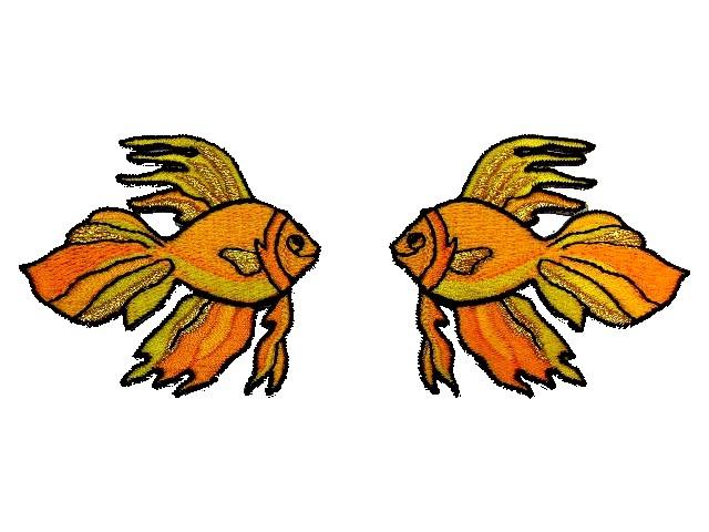 1 Paar Applikationen Fische 7x7cm Farbe: Orange-Gold
