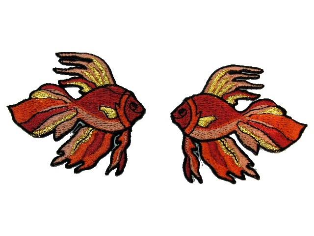 1 Paar Applikationen Fische 7x7cm Farbe: Rotbraun-Gold