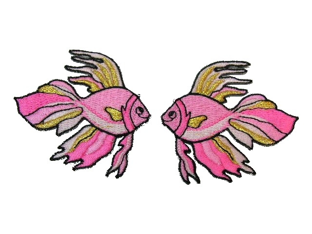 1 Paar Applikationen Fische 7x7cm Farbe: Rosa-Gold