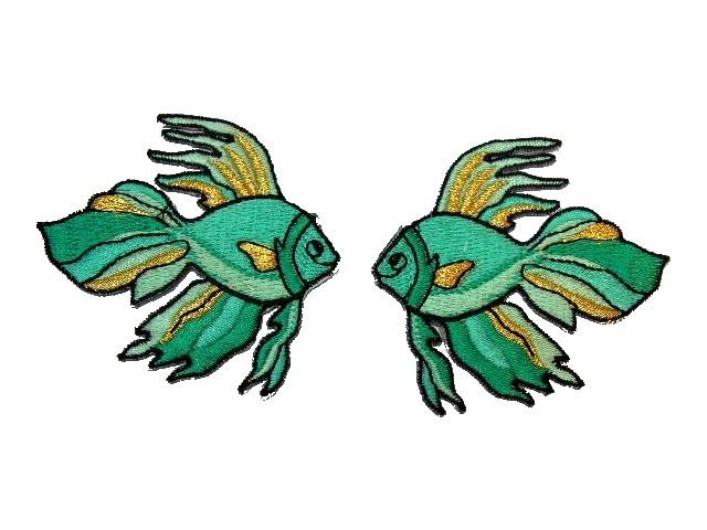 1 Paar Applikationen Fische 7x7cm Farbe: Türkis-Gold
