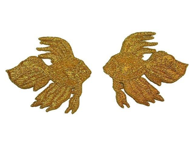 1 Paar Applikationen Fische 7x7cm Farbe: Farbe: Gold
