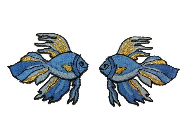 1 Paar Applikationen 7x7cm Farbe: Hellblau-Gold