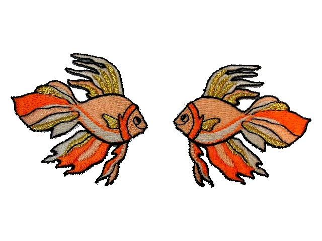 1 Paar Applikationen Fische 7x7cm Farbe: Lachs-Gold