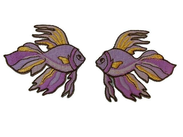 1 Paar Applikationen Fische 7x7cm Farbe: Flieder-Gold