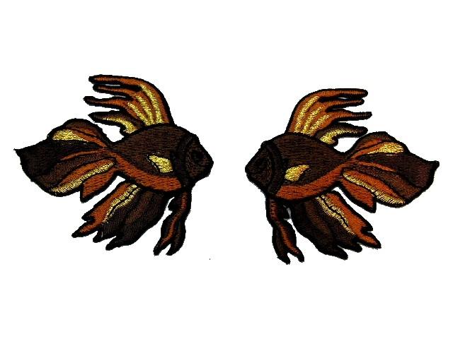 1 Paar Applikationen Fische 7x7cm Farbe: Coffee-Gold