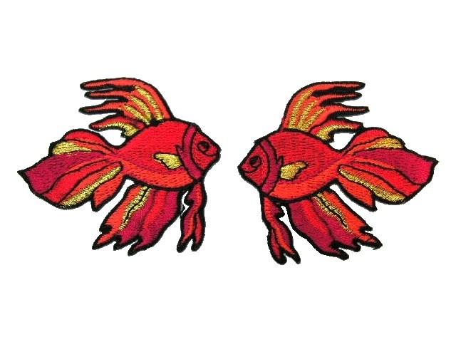 1 Paar Applikationen Fische 7x7cm Farbe: Rot-Gold