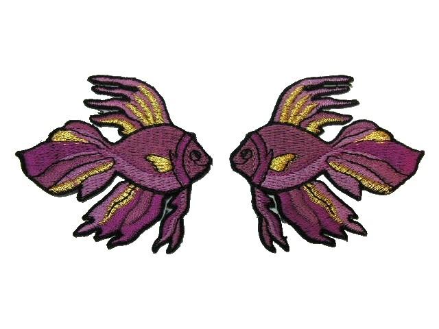 1 Paar Applikationen Fische 7x7cm Farbe: Magenta-Gold