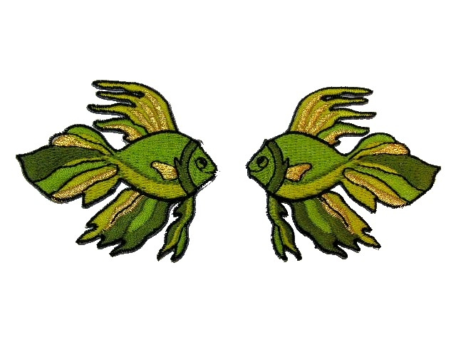 1 Paar Applikationen Fische 7x7cm Farbe: Olive-Gold