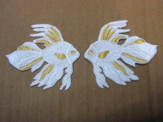 1 Paar Applikationen Fische 7x7cm Farbe: Weiss-Gold