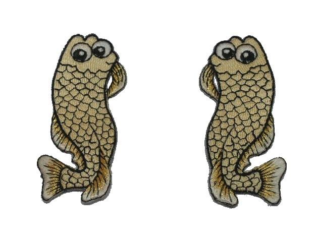 1 Paar Applikationen Fische AA457-27 Farbe: Hellbraun