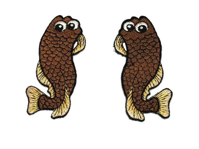 1 Paar Applikationen Fische AA457-22 Farbe: Nugat