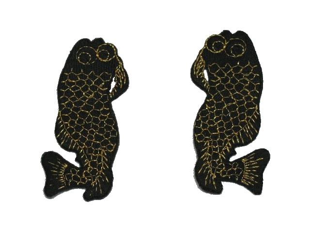 1 Paar Applikationen Fische Farbe: Schwarz-Gold