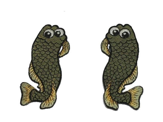 1 Paar Applikationen Fische AA457-20 Farbe: Olive