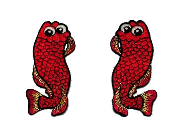 1 Paar Applikationen Fische AA457-6 Farbe: Rot