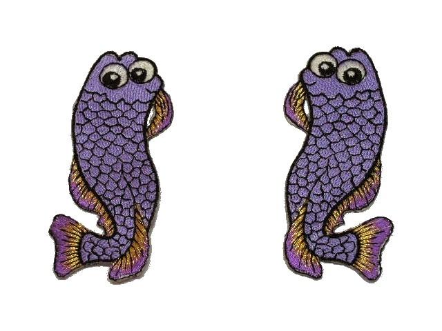 1 Paar Applikationen Fische AA457-9 Farbe: Purpul